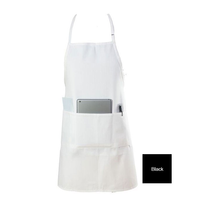 "Chef Revival 601BAO-3-BK Bib Apron, 3-Compartment Pocket, Twill Blend, 28 x 30"", Black"