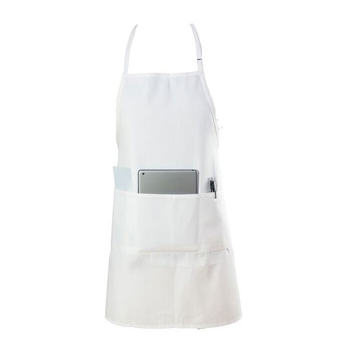 "Chef Revival 601BAO-3-WH Bib Apron, 3-Compartment Pocket, Twill Blend, 28 x 30"", White"