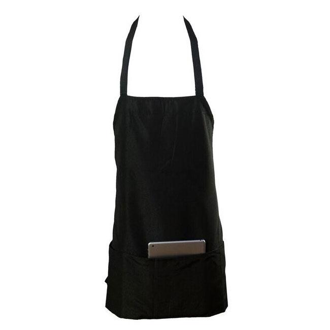"Chef Revival 602BAFH-BK Bib Apron, Twill Blend, 25 x 27"", 3-Pocket, Black"