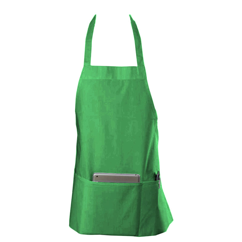 "Chef Revival 602BAFH-GN Bib Apron, Twill Blend, 25 x 27"", 3-Pocket, Kelly Green"