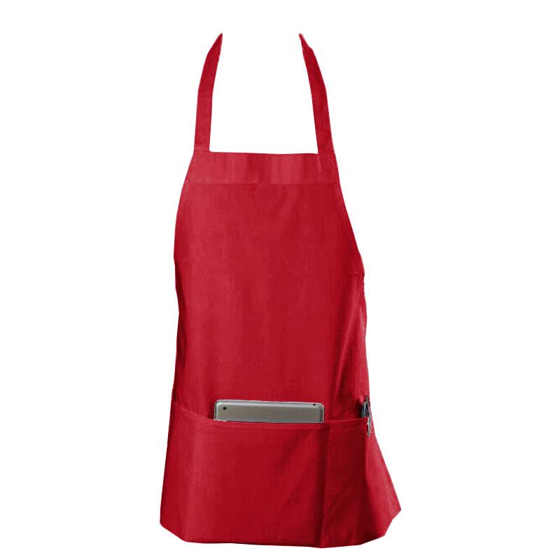 "Chef Revival 602BAFH-RD Bib Apron, Twill Blend, 25 x 27"", 3-Pocket, Red"