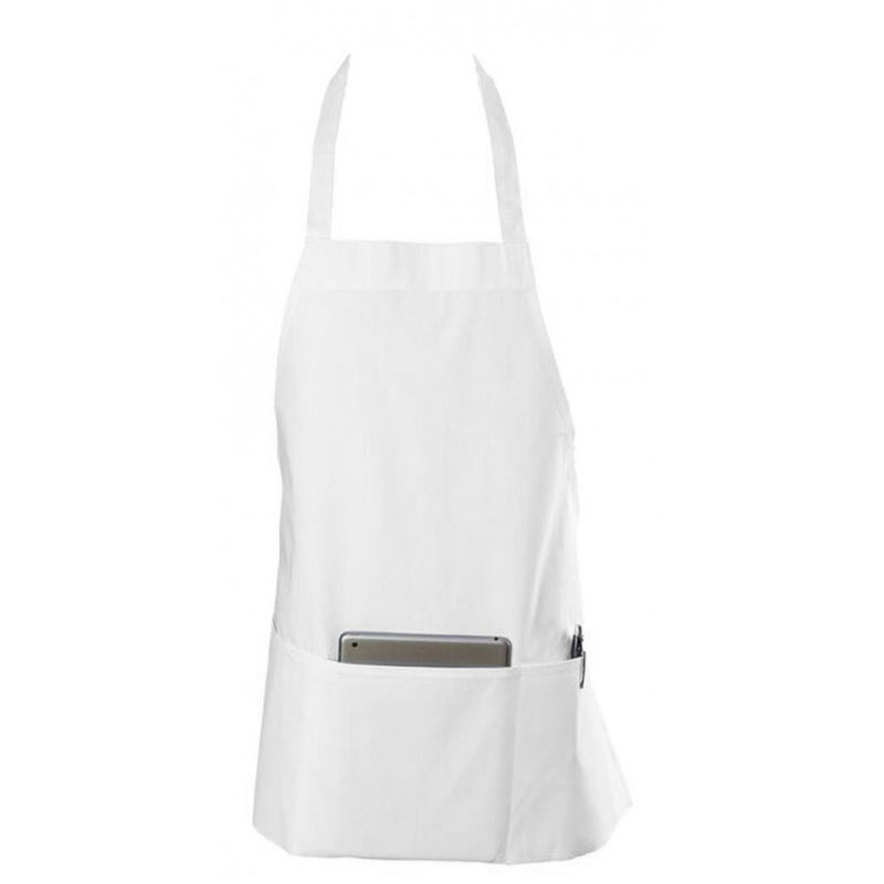 "Chef Revival 602BAFH-WH Bib Apron, Twill Blend, 25 x 27"", 3-Pocket, White"