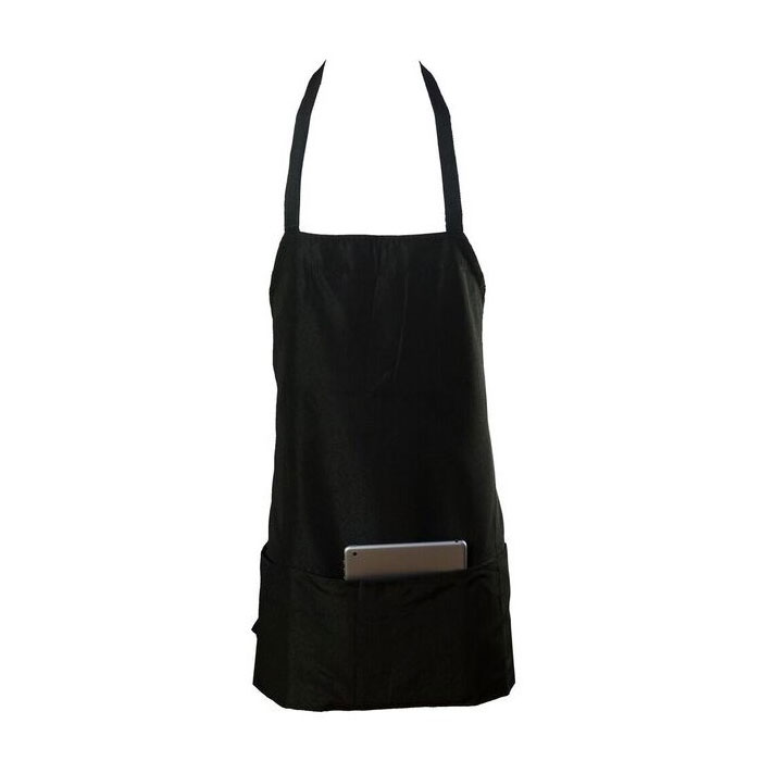 "Chef Revival 602PS-BK Bib Apron, Polyspun, 28 x 27"", 3-Lower Pockets, Black"
