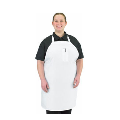 "Chef Revival 610BAC Cotton Economy Bib Apron, 37 x 40"", Pocket, White"