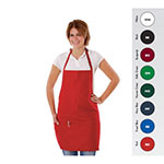 "Chef Revival 612BAFH-RD Bib Apron, 28 x 27"", 3 Pocket, Adjustable Neckband, Red"