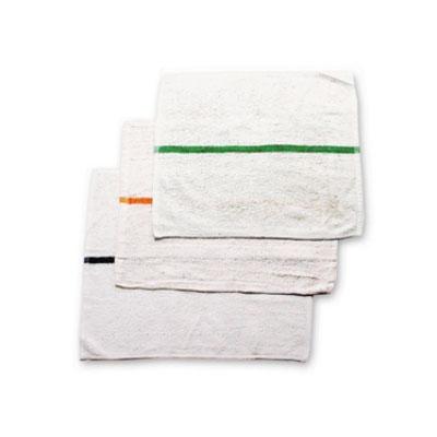 "Chef Revival 700BRT-GLS White Cotton Bar Towel w/ Gold Stripe, 16"" x 19"""