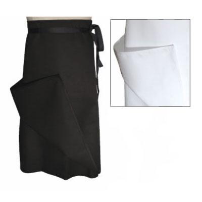 """Chef Revival A009BK Chef Bistro Waist Apron, 30 x 30"""", Poly Cotton Blend, 4-Way, Black"""