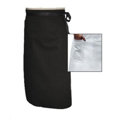 """Chef Revival A011BK Chef Bistro Waist Apron, 34 x 29"""", Poly Cotton Blend, Black"""