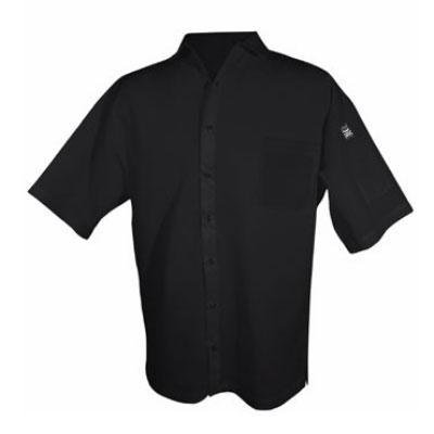 Chef Revival CS006BK-L Poly Cotton Blend Cook Shirt, Large, Pocket, Short Sleeve, Black