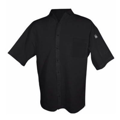 Chef Revival CS006BK-M Poly Cotton Blend Cook Shirt, Medium, Pocket, Short Sleeve, Black
