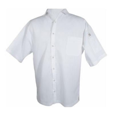 Chef Revival CS006WH-M Poly Cotton Blend Cook Shirt, Medium, Pocket, Short Sleeve, White