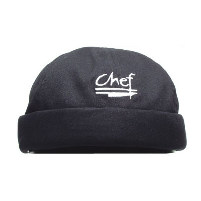 Chef Revival H060BK Chef Beanies, Cotton w/ logo, Black, One Size