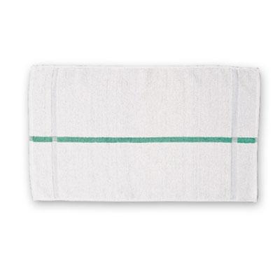 "Chef Revival HTI15GS White Terry Cloth Bar Towel w/ Green Stripes, 15"" x 25"""