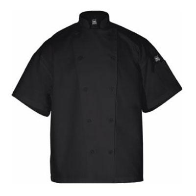 Chef Revival J005BK-M Poly Cotton Blend Chef Jacket, Short Sleeve, Medium, Black
