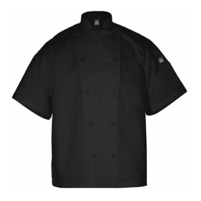 Chef Revival J005BK-S Poly Cotton Blend Chef Jacket, Short Sleeve, Small, Black