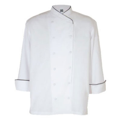 Chef Revival J008-2X Poly Cotton Corporate Chef Jacket, 2X, Black Piping