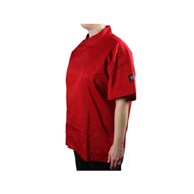 Chef Revival J020TM-2X Jacket w/ Cross Collar, Short Sleeves, Snap Button, Poly-Cotton, Tomato, 2-XL