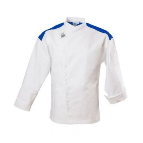 Chef Revival J027BL-S Chef's Jacket w/ Long Sleeves - Poly/Cotton, White w/ Blue Yoke, Small