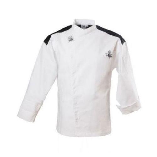 Chef Revival J027-L Chef's Jacket w/ Long Sleeves - Poly/Cotton, White w/ Black Yoke, Large