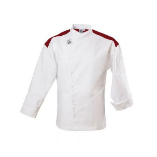 Chef Revival J027RD-5X Chef's Jacket w/ Long Sleeves - Poly/Cotton, White w/ Red Yoke, 5X