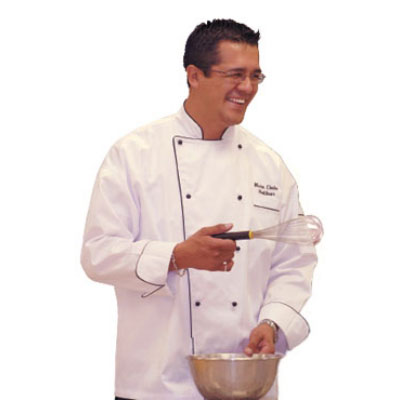 Chef Revival J044-XS Poly Cotton Brigade Chef Jacket, X-Small, Black Piping