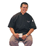 Chef Revival J045BK-2X Poly Cotton Traditional Chef Jacket, Short Sleeve 2X, Black