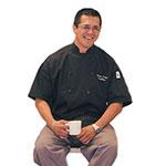 Chef Revival J045BK-L Poly Cotton Traditional Chef Jacket, Short Sleeve Large, Black