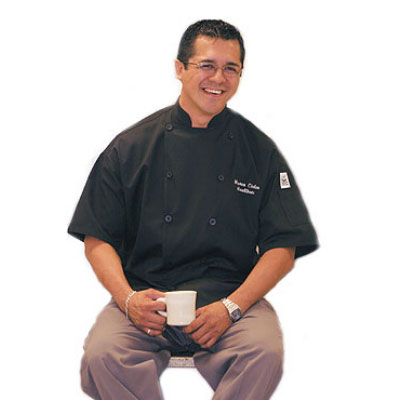 Chef Revival J045BK-XL Poly Cotton Traditional Chef Jacket, Short Sleeve X-Large, Black
