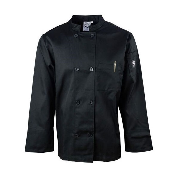Chef Revival J071BK-M Chef's Jacket w/ Long Sleeves - Poly/Cotton, Black, Medium