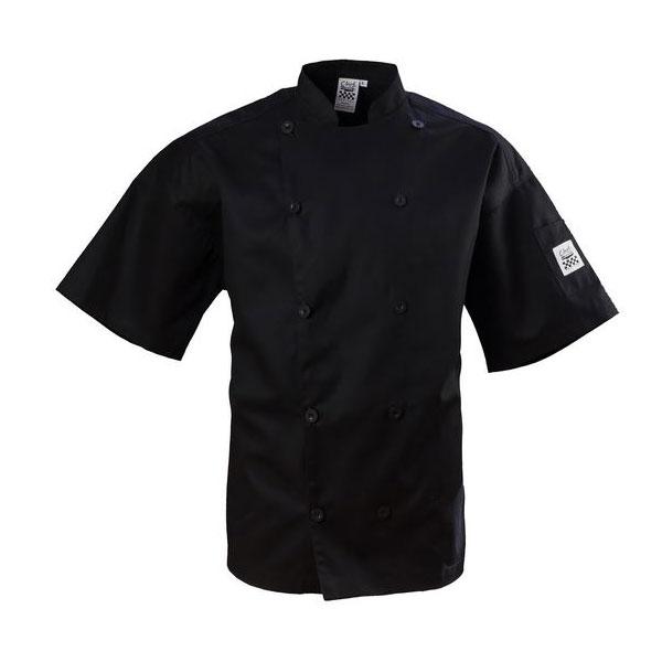 Chef Revival J109BK-3X Chef's Jacket w/ Short Sleeves - Poly/Cotton, Black, 3X