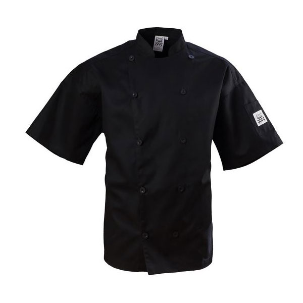 Chef Revival J109BK-L Chef's Jacket w/ Short Sleeves - Poly/Cotton, Black, Large