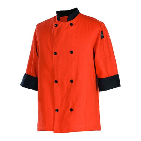 Chef Revival J134SP-4X Chef's Jacket Size 4X, 3/4-Sleeve, Spice w/ Black Trim