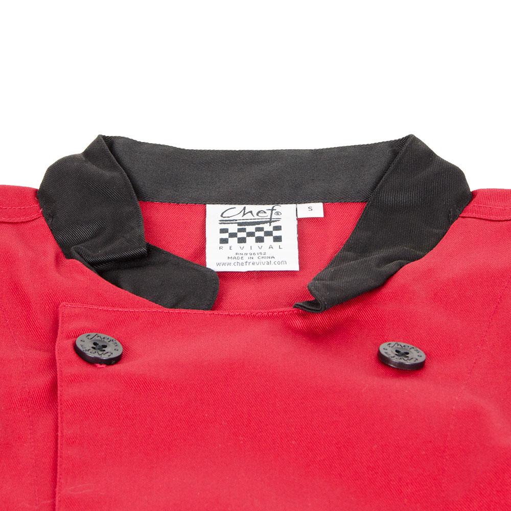 Chef Revival J134TM-M Chef's Jacket Size Medium, 3/4-Sleeve, Tomato w/ Black Trim