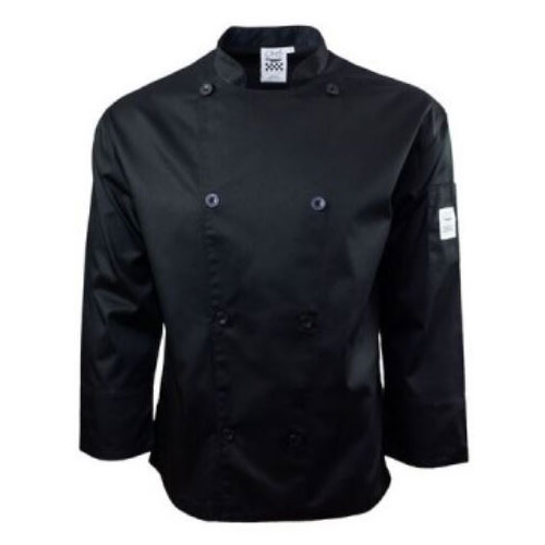 Chef Revival J200BK-XL Chef's Jacket w/ Long Sleeves - Poly/Cotton, Black, X-Large