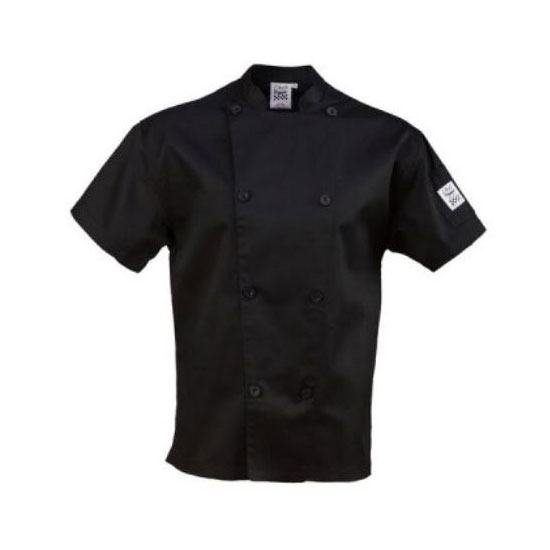Chef Revival J205BK-L Chef's Jacket w/ Short Sleeves - Poly/Cotton, Black, Large