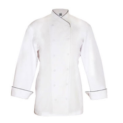 Chef Revival LJ008-2X Ladies Poly Cotton Corporate Chef Jacket, 2X, Black Piping