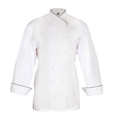 Chef Revival LJ008-M Ladies Poly Cotton Corporate Chef Jacket, Medium, Black Piping