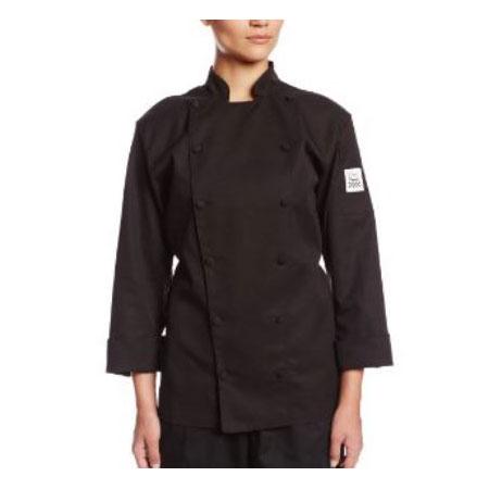Chef Revival LJ025BK-2X Ladies Chef's Jacket w/ Long Sleeves - Poly/Cotton, Black, 2X