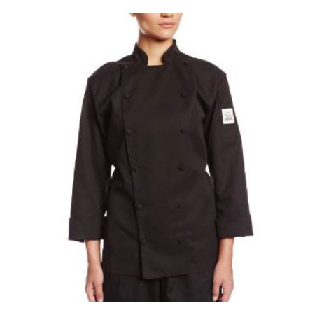 Chef Revival LJ025BK-XS Ladies Chef's Jacket w/ Long Sleeves - Poly/Cotton, Black, X-Small