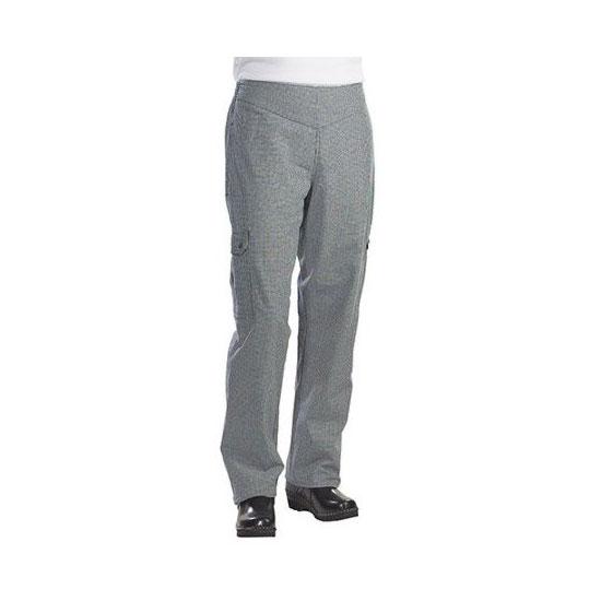 Chef Revival LP001HT-M Ladies Cargo Chef's Pants w/ Elastic Waist - Poly/Cotton, Black/White Houndstooth, Medium