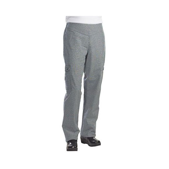 Chef Revival LP001HT-S Ladies Cargo Chef's Pants w/ Elastic Waist - Poly/Cotton, Black/White Houndstooth, Small