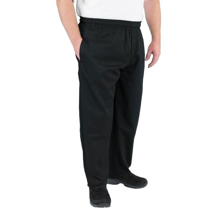 Chef Revival P014BK-5X Chef's Pants w/ Elastic Waist - Poly/Cotton, Black, 5X