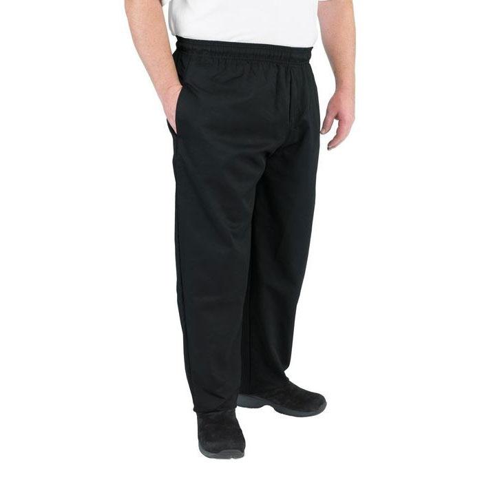 Chef Revival P014BK-XL Chef's Pants w/ Elastic Waist - Poly/Cotton, Black, X-Large