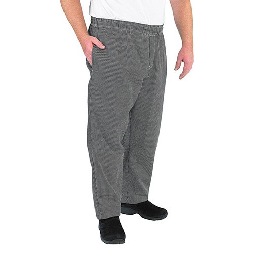 Chef Revival P015HT-L Chef's Pants w/ Elastic Waist - Poly/Cotton, Black/White Houndstooth, Large