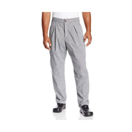 Chef Revival P018HT-2X Chef's Pants w/ Drawstring Waist - Poly/Cotton, Black/White Houndstooth, 2X