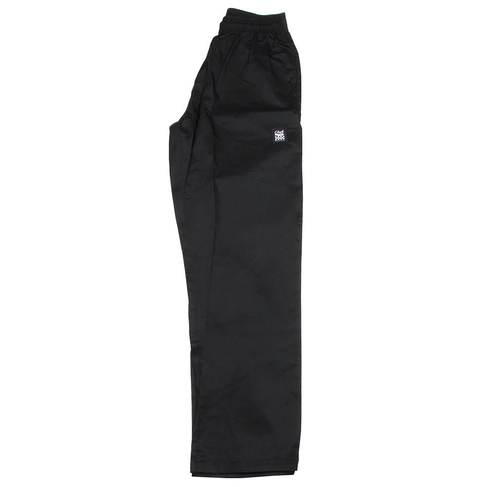 "Chef Revival P020BK-XL Chef Pants w/ 2"" Elastic Waist & 4-Pockets, Black, X-Large"