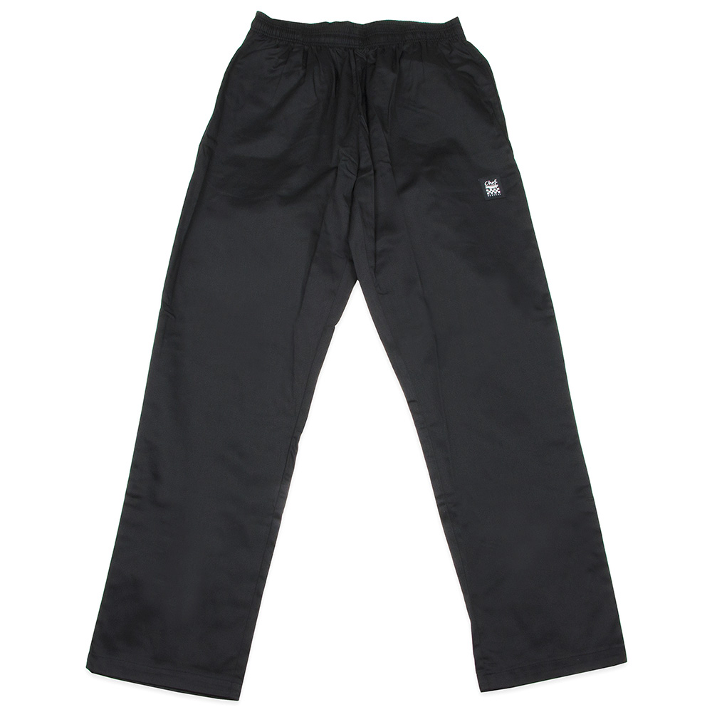 "Chef Revival P020BK-XS Chef Pants w/ 2"" Elastic Waist & 4-Pockets, Black, X-Small"