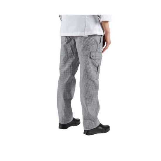 Chef Revival P023HT-M Cargo Chef's Pants w/ Elastic Waist - Poly/Cotton, Black/White Houndstooth, Medium