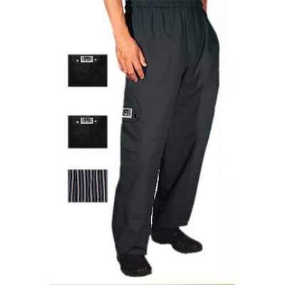 Chef Revival P024BK-M Poly Cotton Cargo Chef Pants, Medium, Black