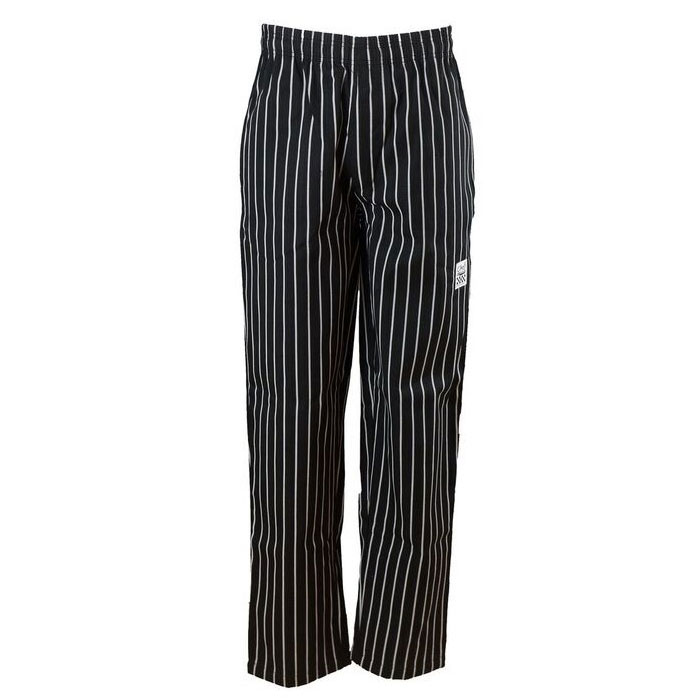 Chef Revival P040WS-M Cotton Chef Pants, Medium, Black/White Pin-stripe